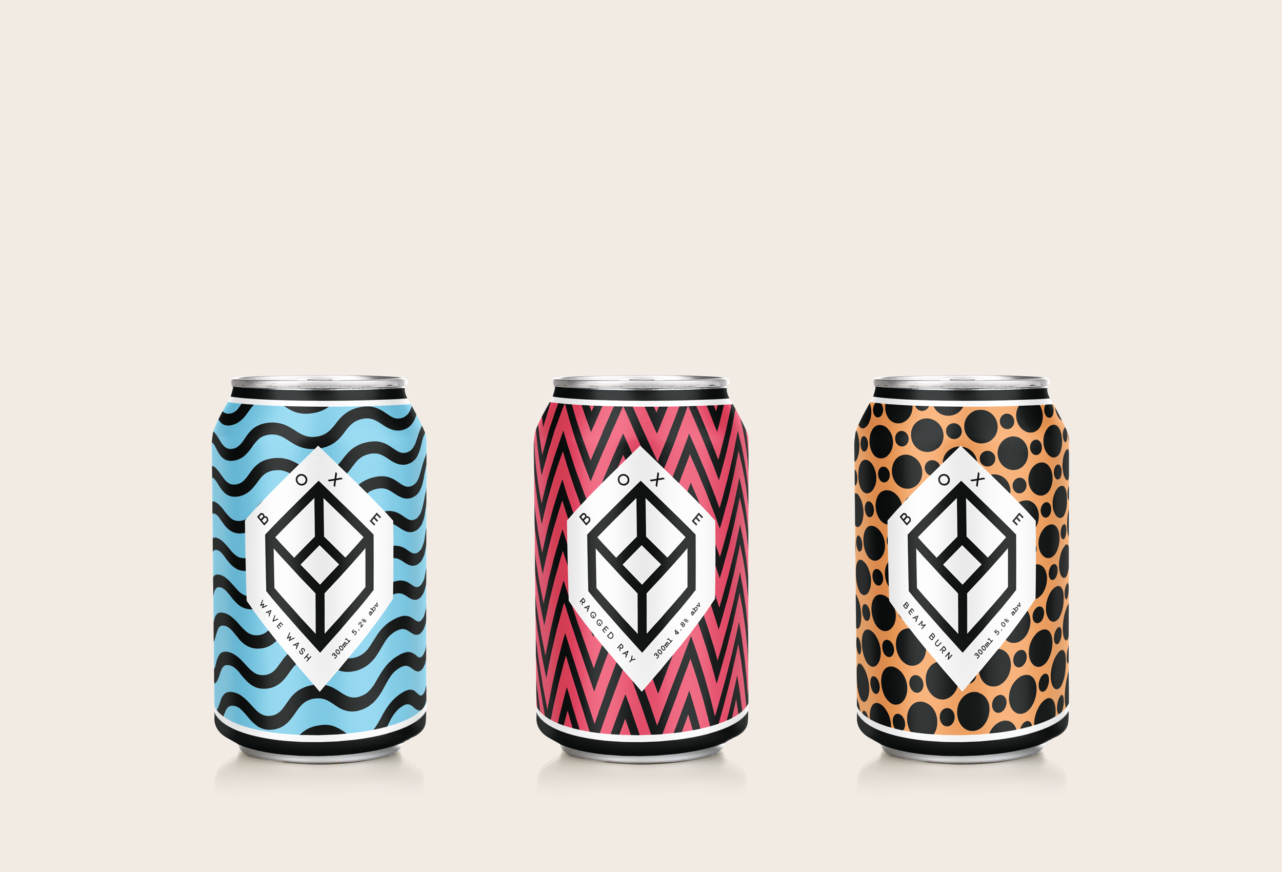 Boxe Beer can packaging designs.